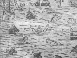 "Detail from the woodcut on our 1607 pamphlet, ""A true report of certaine wonderfull overflowings of water"" in the Cardiff Rare Books collection in SCOLAR"
